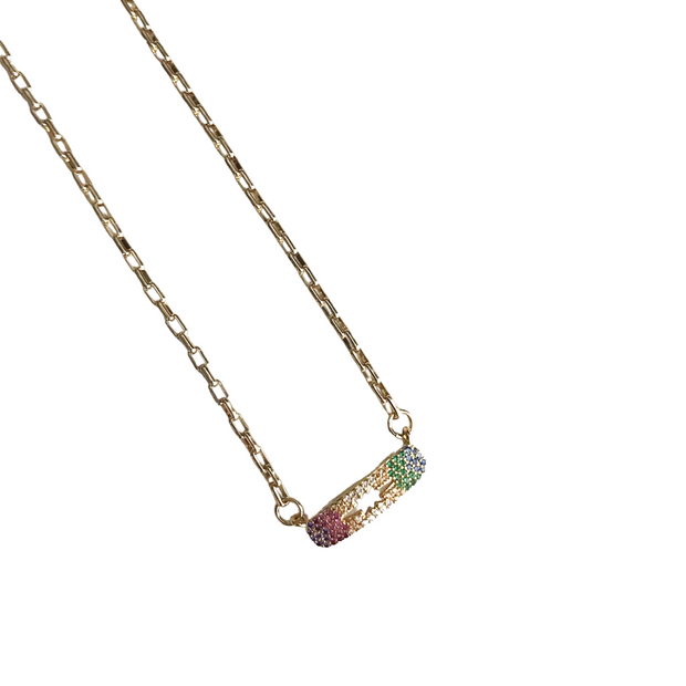 Mini Rainbow Pave Connector with North Star Cutout Necklace 1