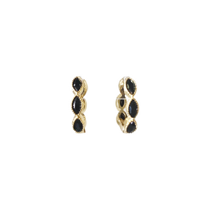 Black Horse Eye Pave Huggie Earrings