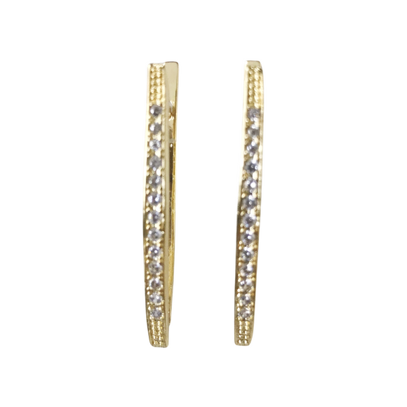 Long V Shaped Pave Earrings
