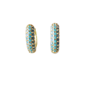 Turquoise Micro Pave Huggie Earrings