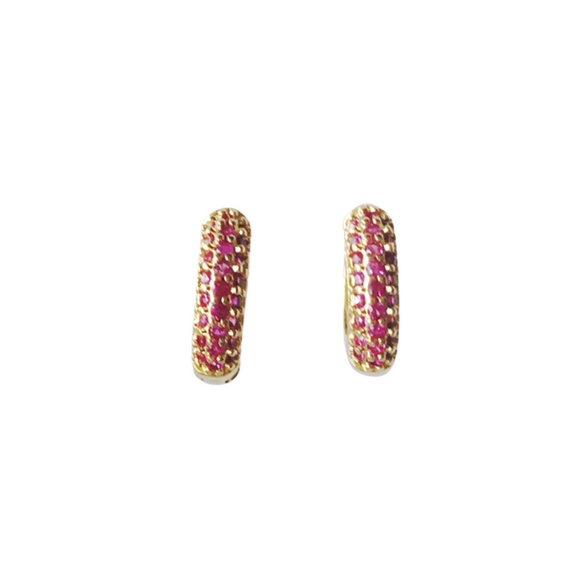 Garnet Micro Pave Huggie Earrings