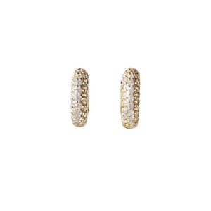 Clear Micro Pave Huggie Earrings