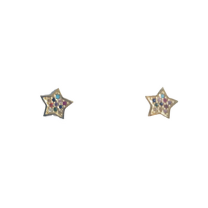 Pave Rainbow Star Stud Earrings