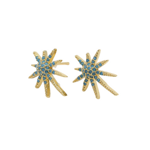 Turquoise Star Burst Stud Earrings