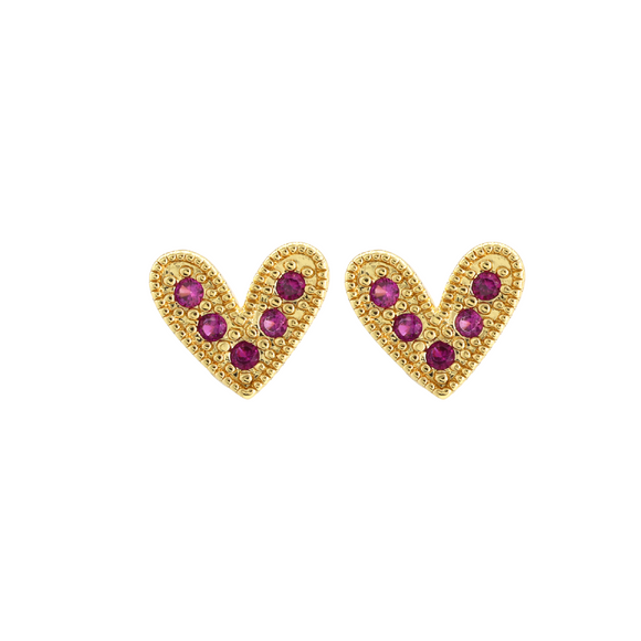 Pink Pave Heart Stud Earrings