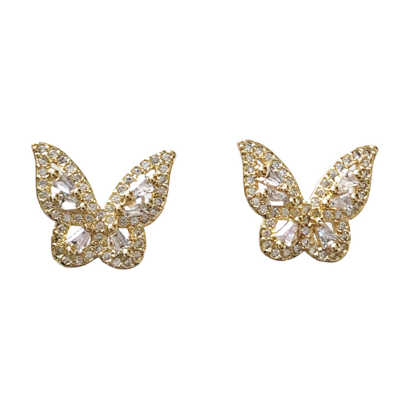 Pave Clear Butterfly Stud Earrings
