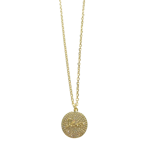Pave Love Disc Necklace