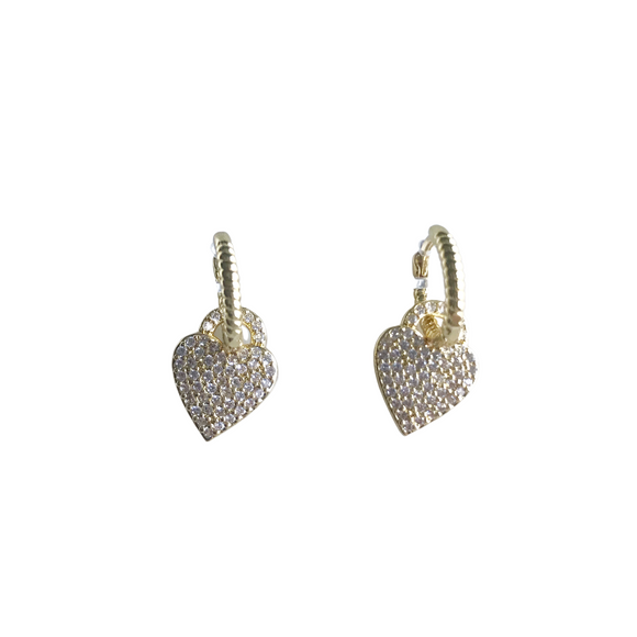 Pave Heart Huggie Earrings