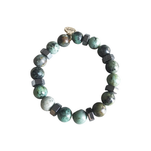 African Turquoise and Hematite Stretch Bracelet