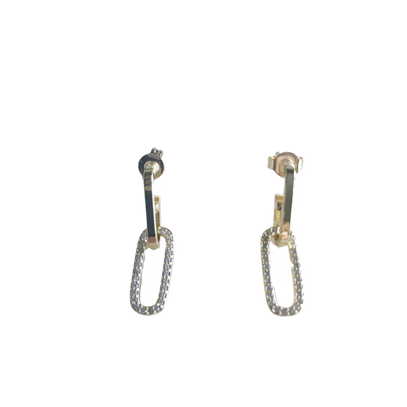 Pave Paperclip Chain Drop Earrings
