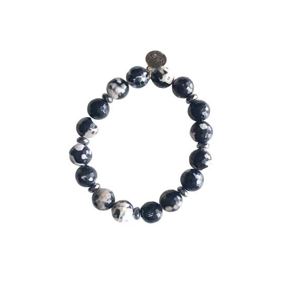Black Fire Agate Stretch Bracelet