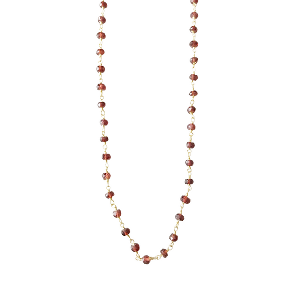 Carnelian Rosary Chain Choker Necklace