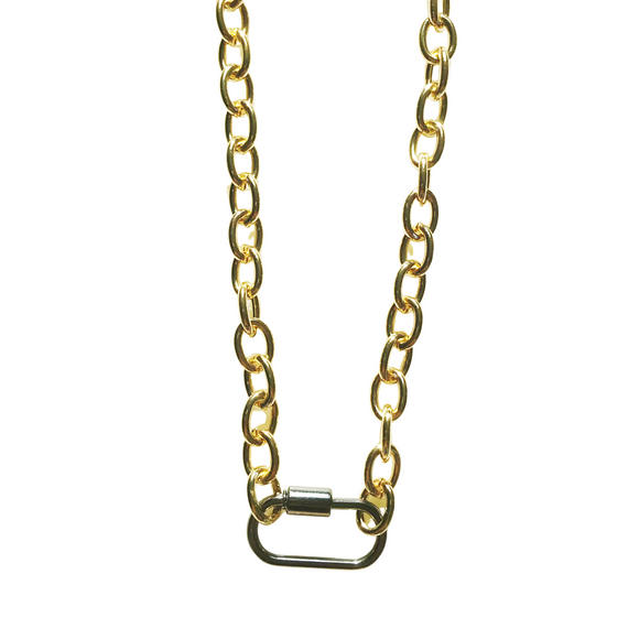 Chunky Gunmetal Carabiner Necklace