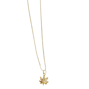 "Clear ""Leaf"" Charm Necklace"