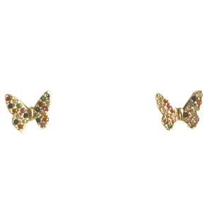 Rainbow Pave Butterfly Earrings