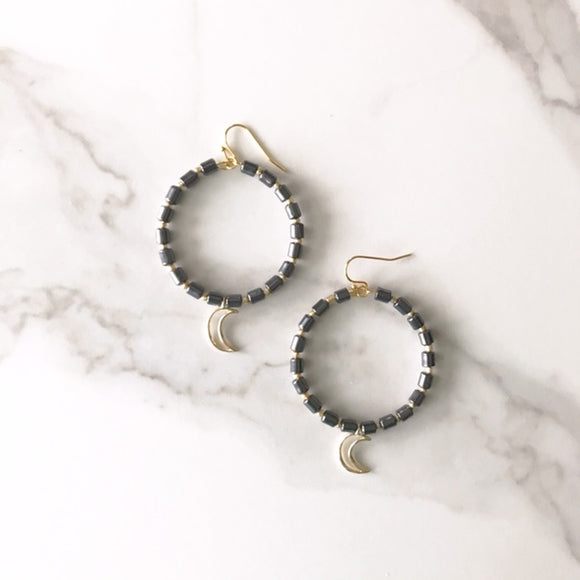 Hematite and Gold Crescent Moon Earrings