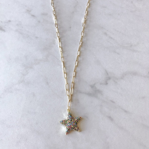 Pave Multi Color Star Necklace