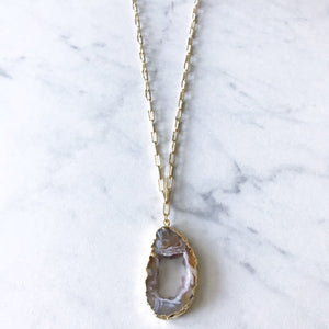Market and King Geode Necklace (Browns and Whites)