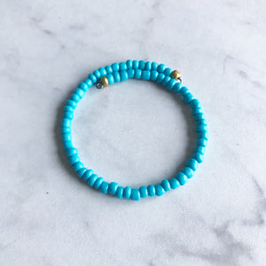 Turquoise Seed Bead Stacker Bracelet