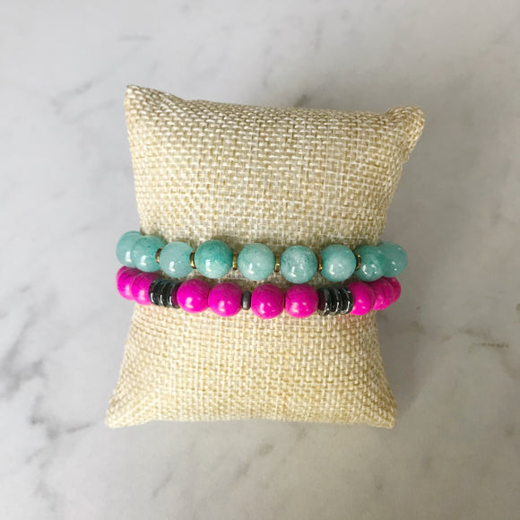 Aquamarine and Pink Howlite Bracelet Duo