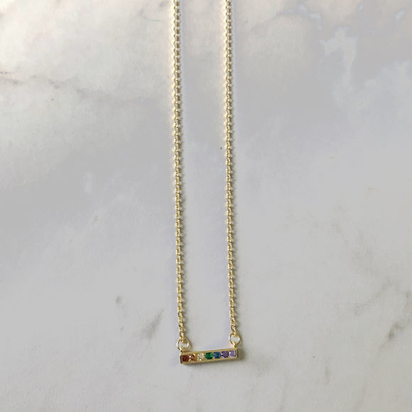 Dainty Rainbow Bar Necklace