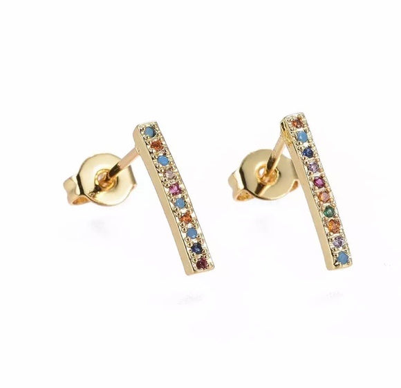 Rainbow Pave Studs Earrings