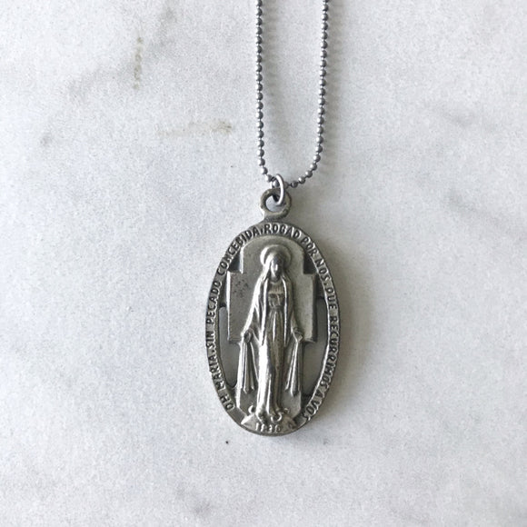 Vintage Religious Medallion on Antiqued Silver Chain