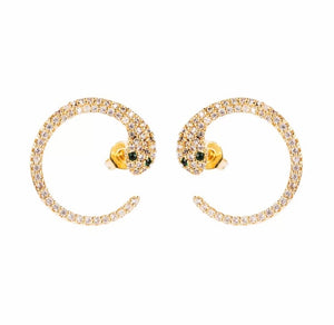 Pave Curved Snake Stud Earrings