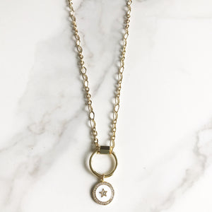 Gold Circle Carabiner Necklace  with White Enamel Charm