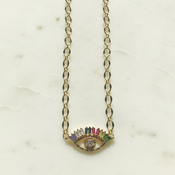Rainbow Pave Evil Eye Necklace