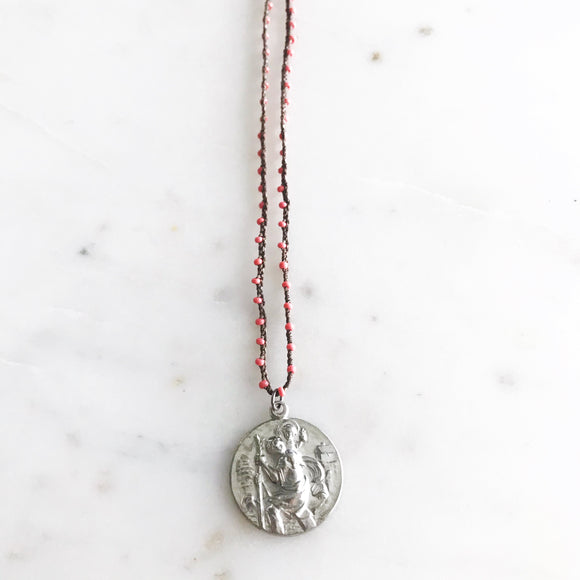 Saint Christopher on Coral Bead Crocheted Necklace