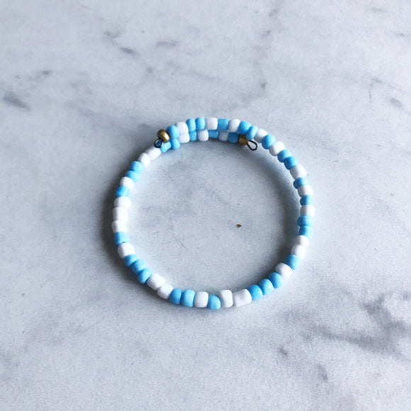 Light Blue and White Seed Bead Stacker Bracelet