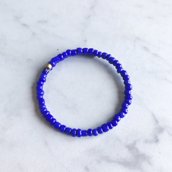 Royal Blue Seed Bead Stacker Bracelet