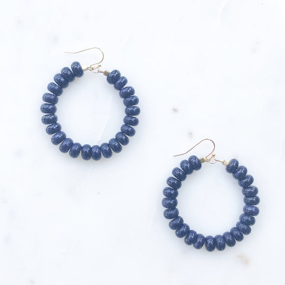 Sparkly Navy Agate Earrings