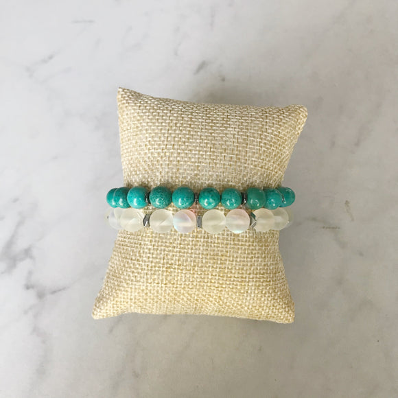 Turquoise and Moonstone Bracelet Duo