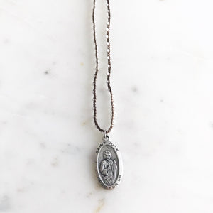 Saint Jude Pendant on White  Bead Crocheted Necklace