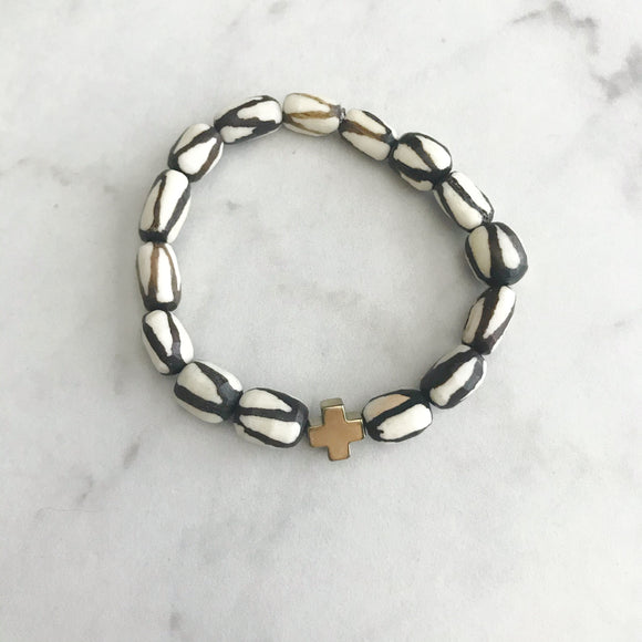 Vertical Stripe Batik Bone Hope Bracelet