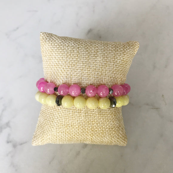 Lemon Jade and Pink Agate Bracelet Duo