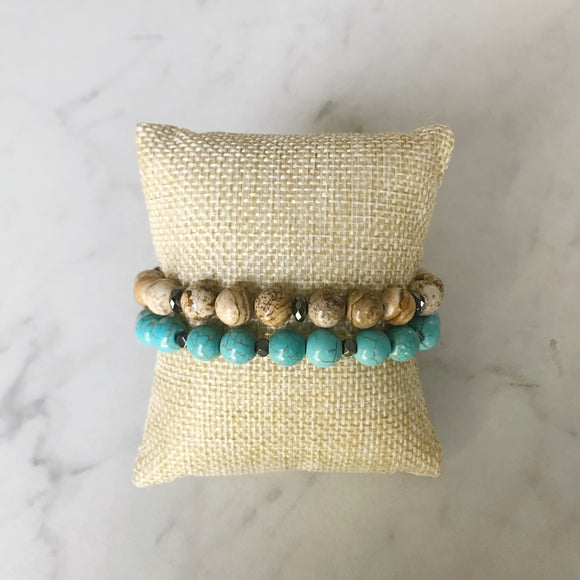 Turquoise and Picture Jasper Bracelet Duo