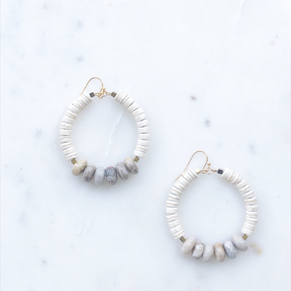 Howlite and Fossil Agate Earrings