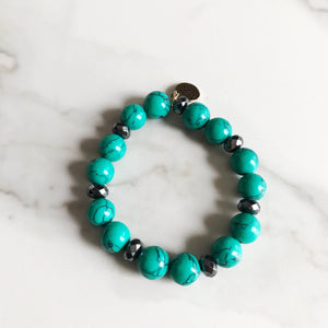 Green Turquoise Howlite Stretch Bracelet