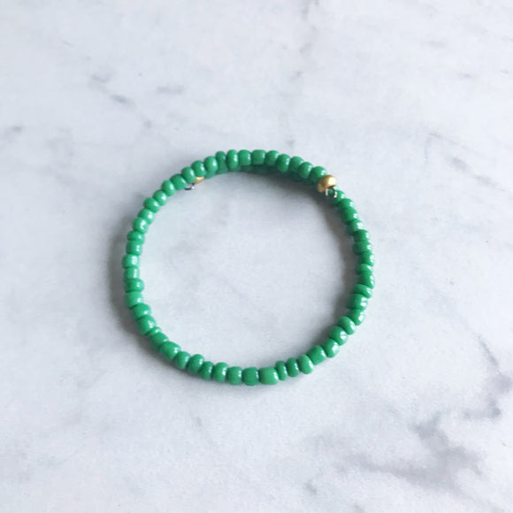 Green Seed Bead Stacker Bracelet