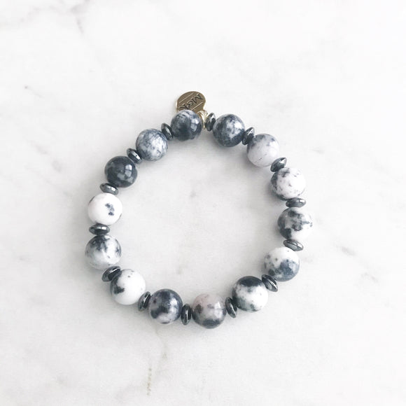 Navy Jasper  Stretch Bracelet