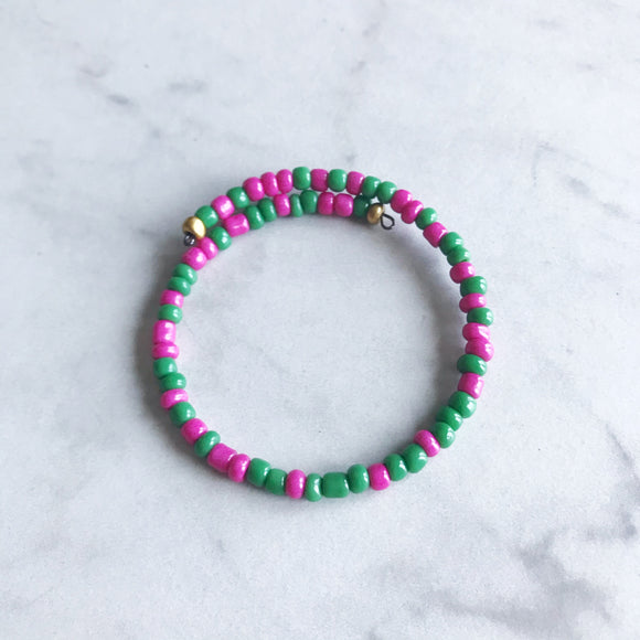 Hot Pink and Green Seed Bead Stacker Bracelet