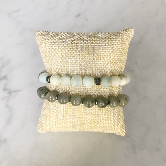 Matte Amazonite and Labradorite Bracelet Duo