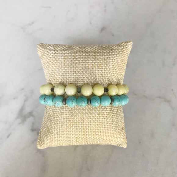 Lemon Jade and Turquoise Bracelet Duo