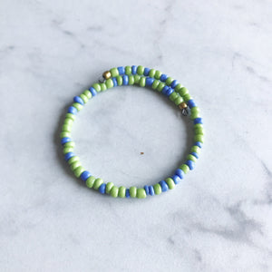 Lime Green and Periwinkle Seed Bead Stacker Bracelet