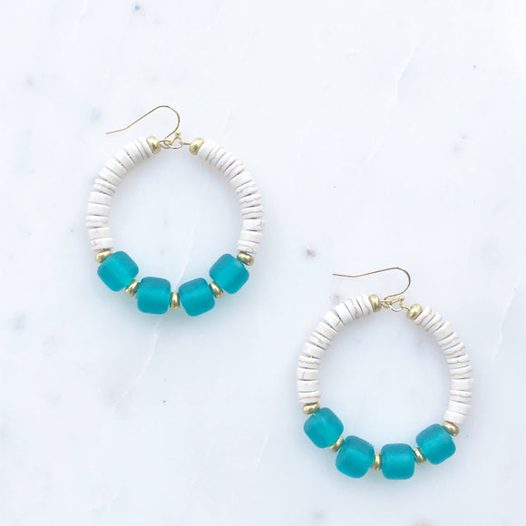 Howlite and Teal Frosted Glass  Earrings