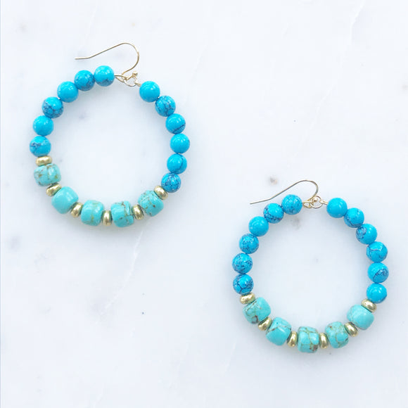 Blue and Green Turquoise Earrings