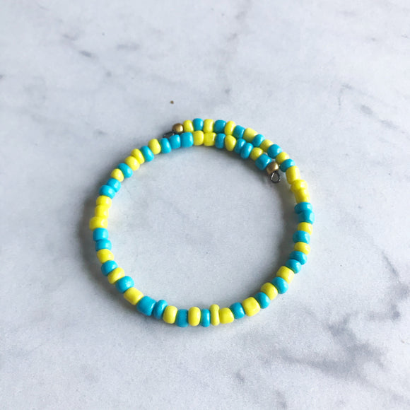 Turquoise and Yellow Seed Bead Stacker Bracelet